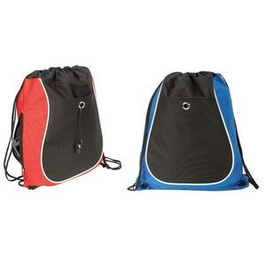 Polyester 2-Tone Drawstring Backpack w/ Black Rounded Panel
